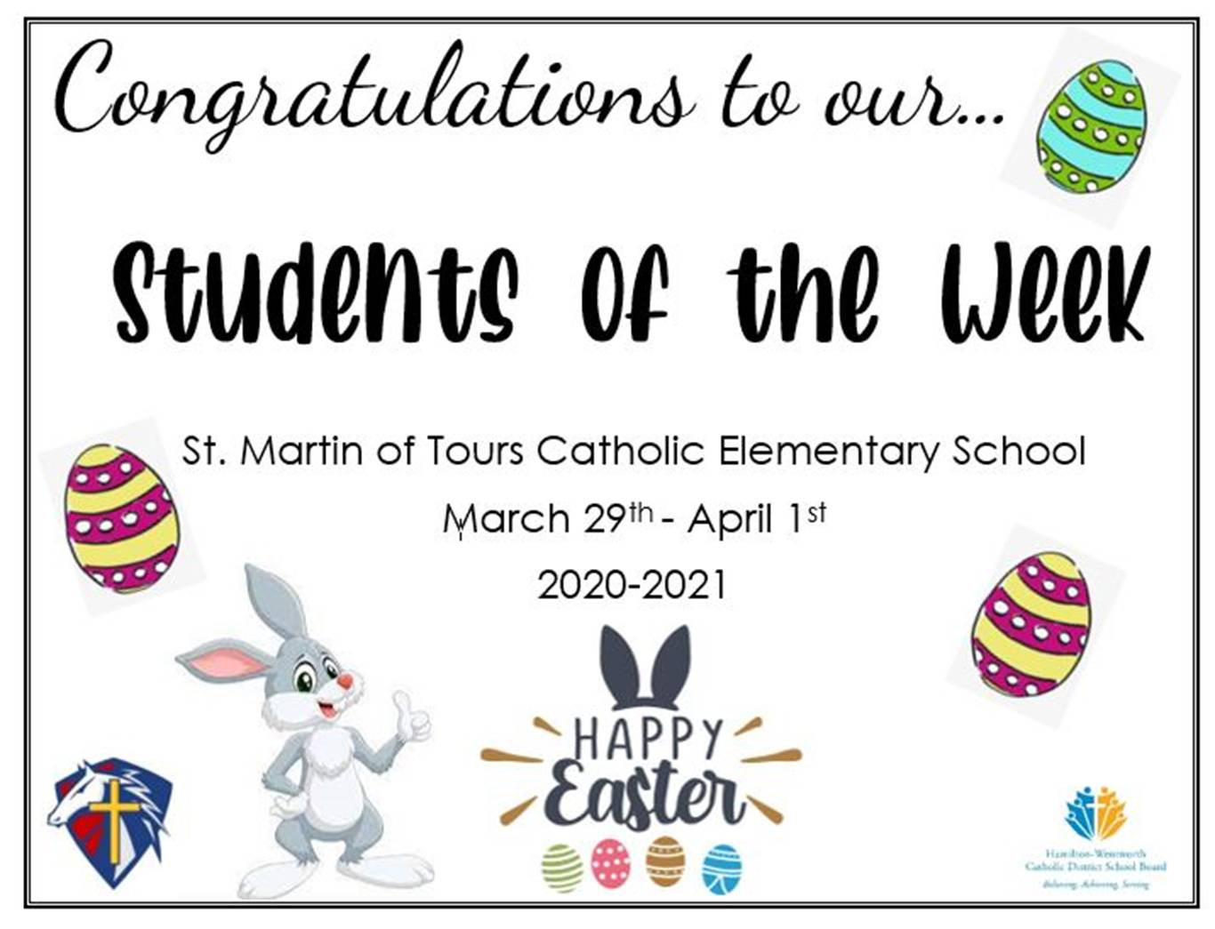 Students of the Week at St. Martin of Tours Catholic Elementary School
